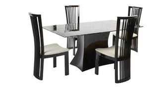 Trattoria Fixed Rectangular Table and 4 Santa Fe Chairs