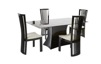 Fixed Rectangular Table and 4 Santa Fe Chairs