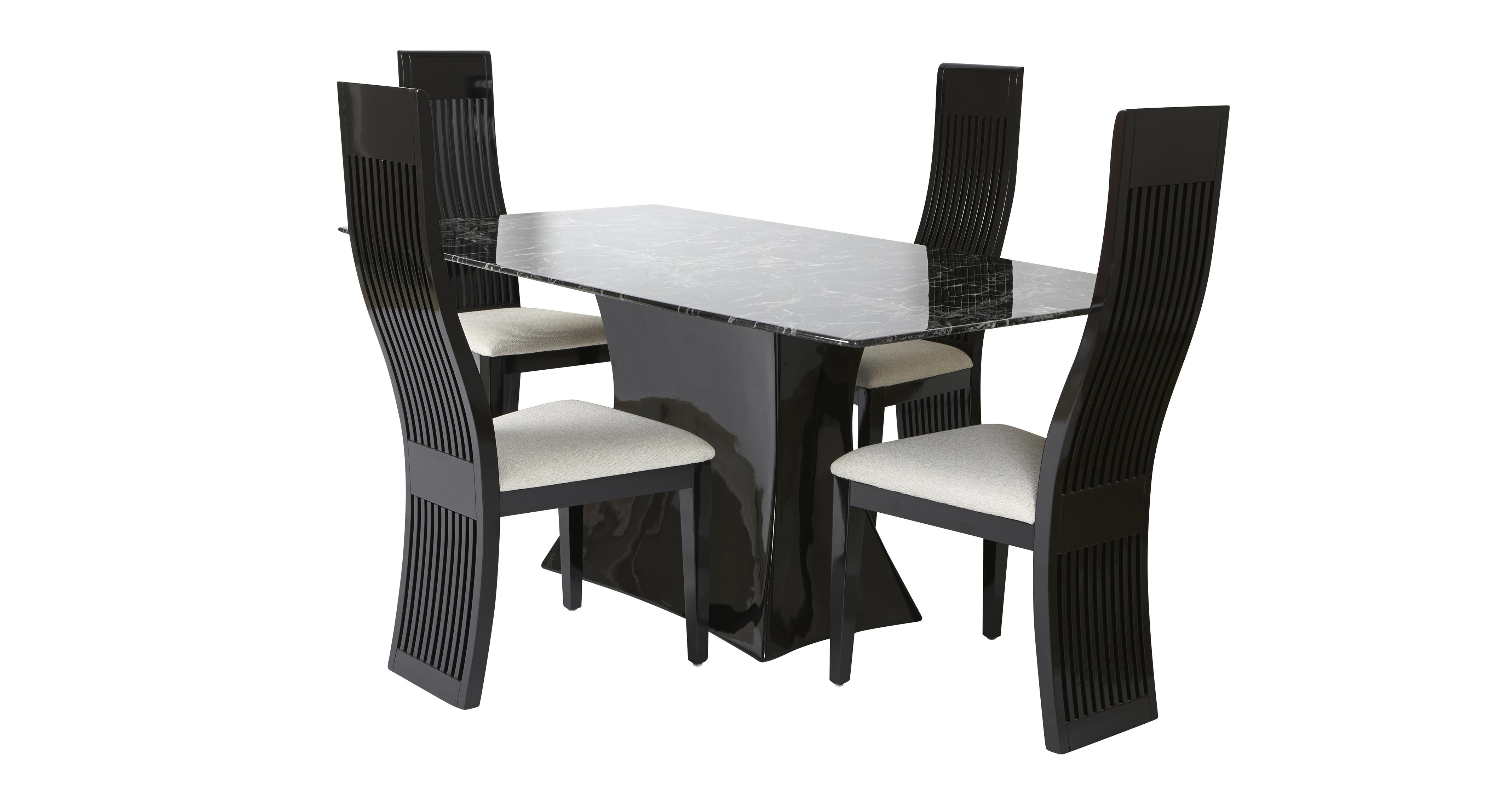Trattoria fixed rectangular table and tulsa chairs