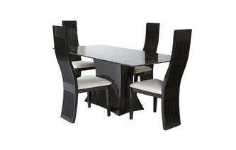 Fixed Rectangular Table and 4 Tulsa Chairs