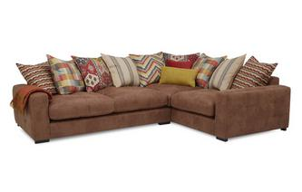 Left Hand Facing 3 Seater Pillow Back Corner Sofa Turin