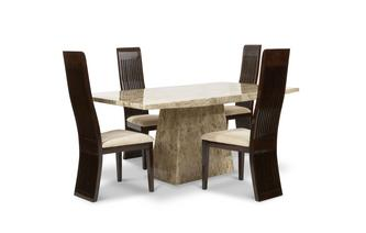 Rectangular Table and Set of 4 Gardena Chairs Utah Marble