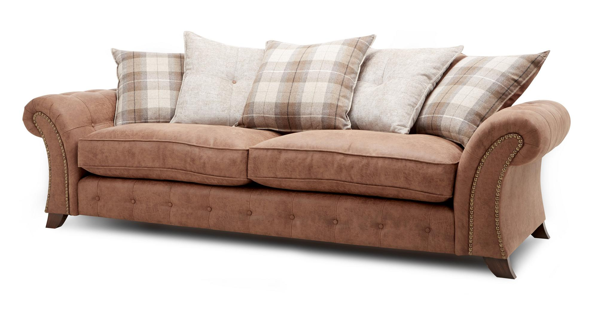 Dfs Woodland Brown Fabric 4 Seater Pillow Back Sofa