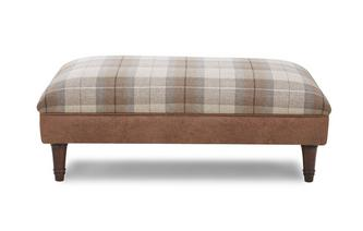 Woodland Check Top Large Footstool Oakland