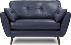 Zinc: blue leather cuddle sofa