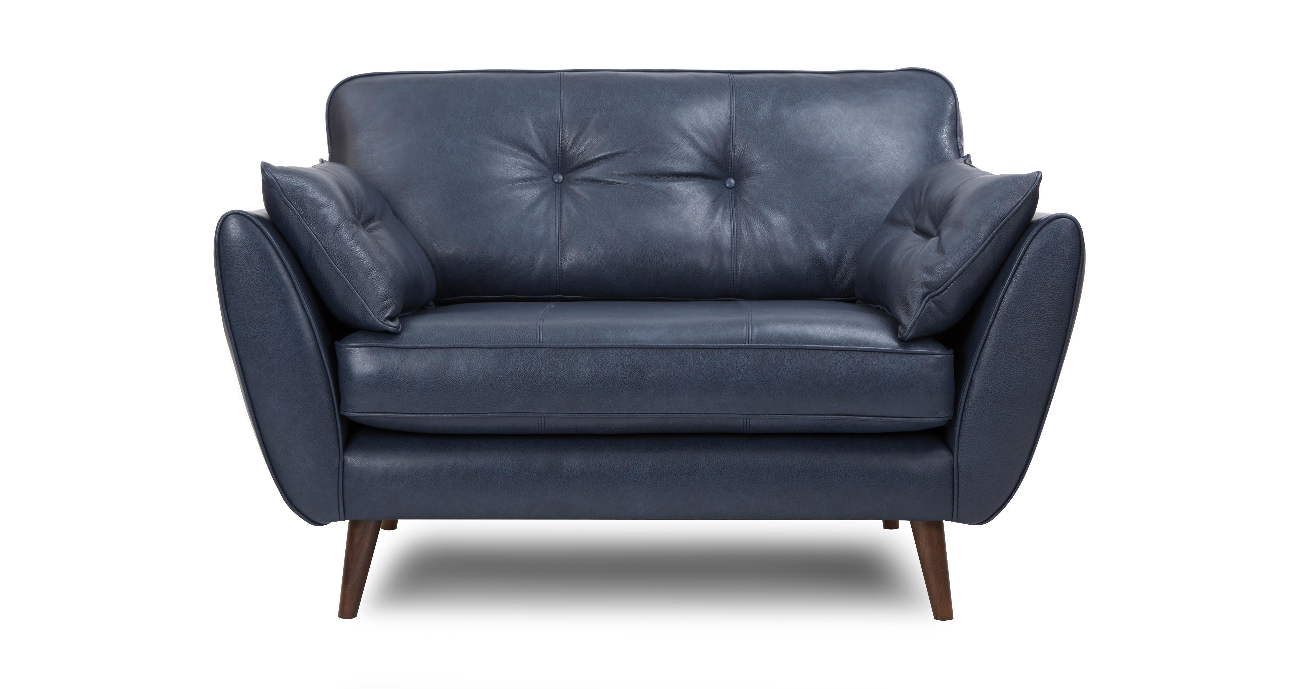 Zinc Leather Cuddler Sofa | DFS