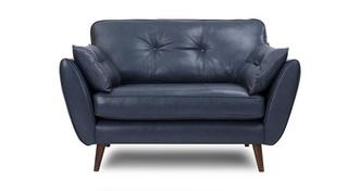 Zinc Leather Cuddler Sofa