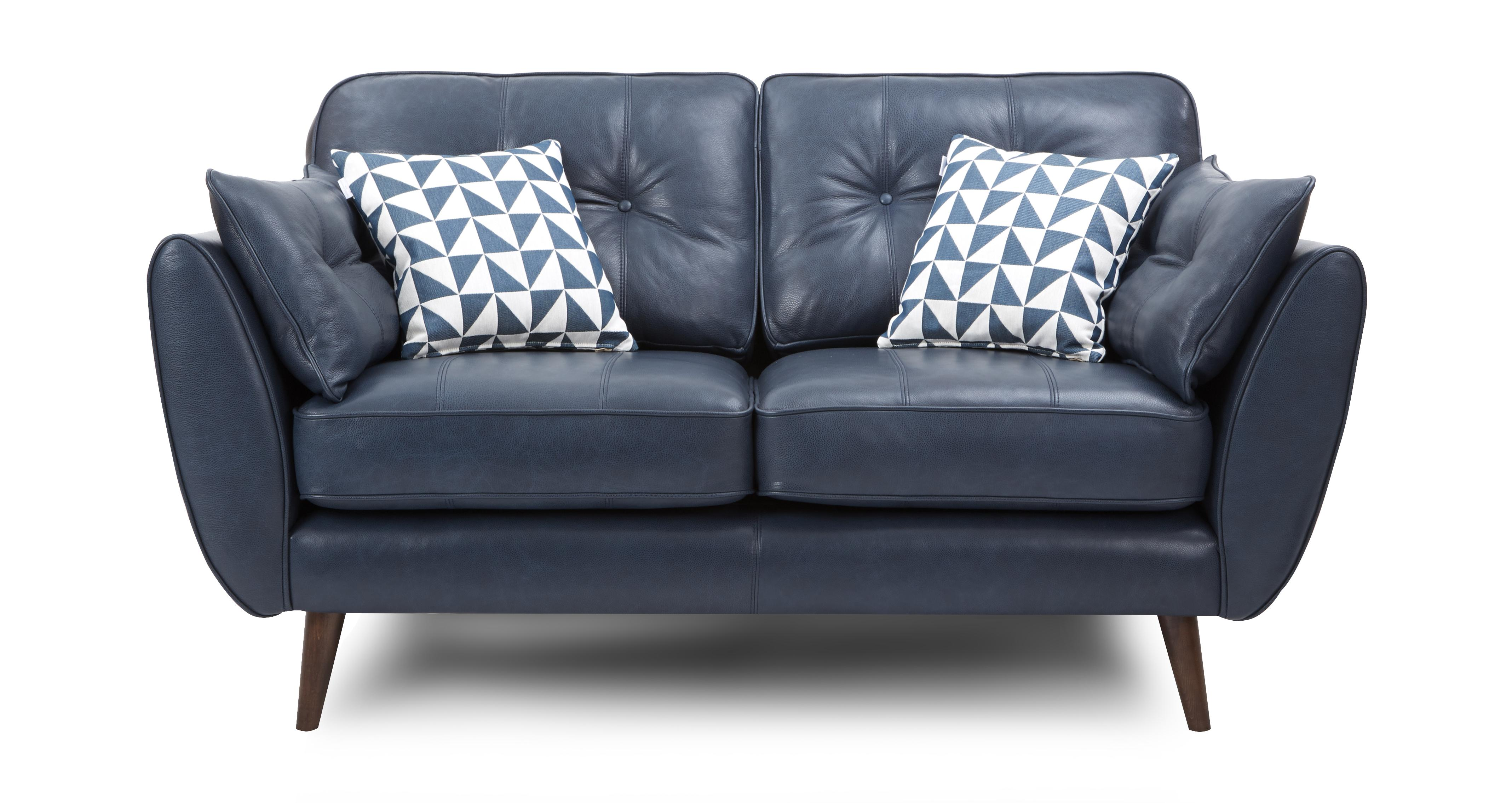 Zinc leather 2 seater sofa dfs for 2 seater leather sofa