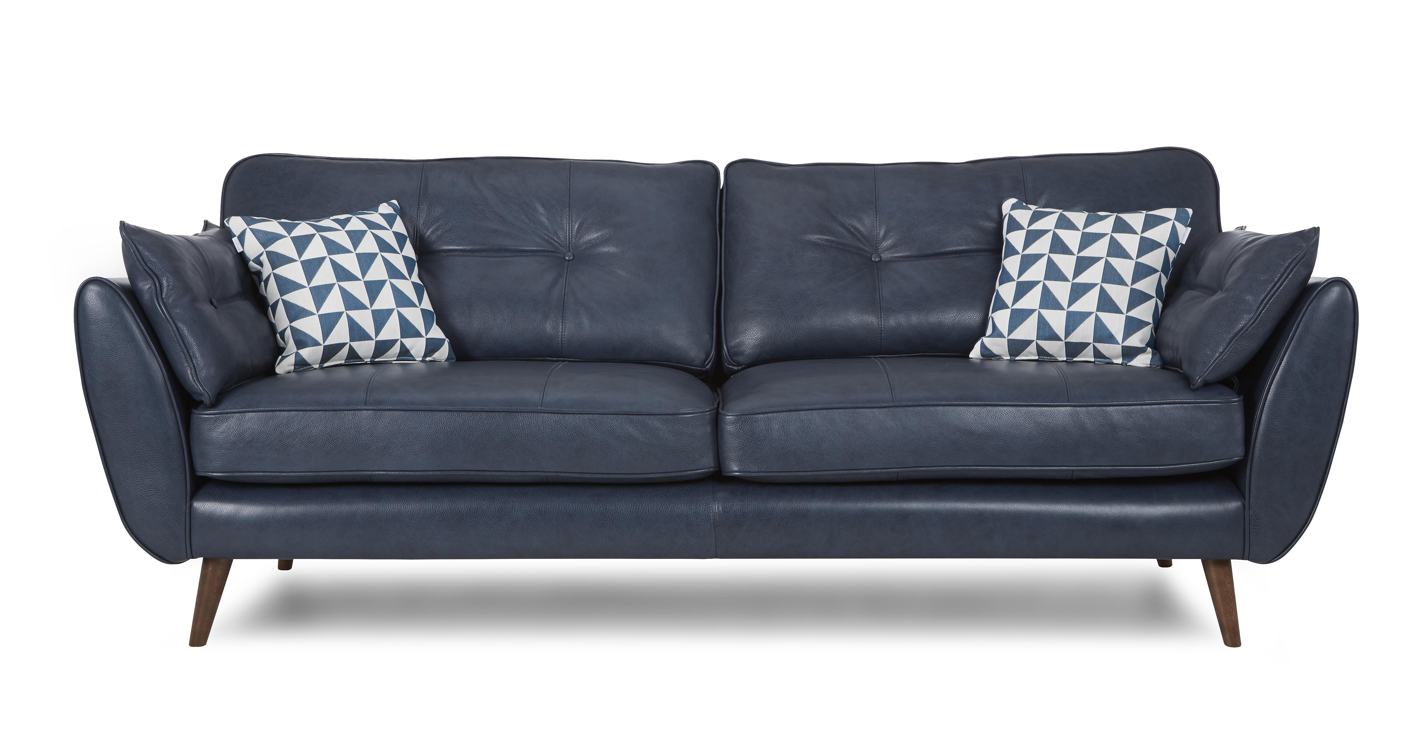 Zinc Leather 4 Seater Sofa Dfs