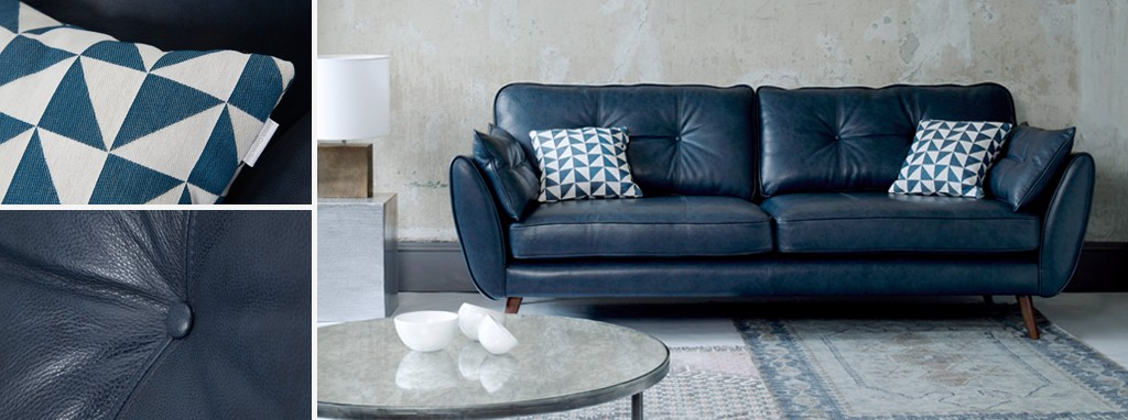 Zinc leather 4 seater sofa dfs Dfs 4 seater leather sofa