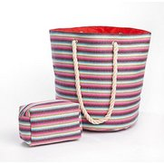 Striped Rope Handle Beach Bag And T...
