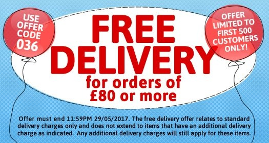 Free Standard Delivery for orders of £80 or more. Offer must end 11.59pm 29/05/2017. Limited to the First 500 customers only. Use offer code 036.
