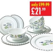12-Piece New Bone China Fishes Dinner Set