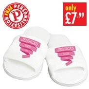 Personalised Pink Banner Velour Slippers