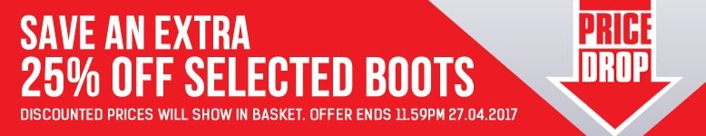 Price Drop - Save an extra 25% off selected boots. Discounted prices will show in basket. Offer ends 11.59pm 27.04.2017. - Shop Now