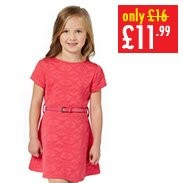 Girls Jacquard Skater Dress With Belt