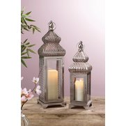 Set Of 2 Silver Plated Lanterns