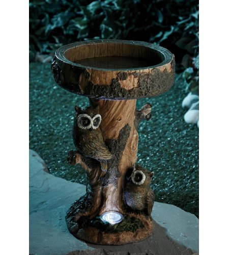 image for owl bird bath with solar light from studio