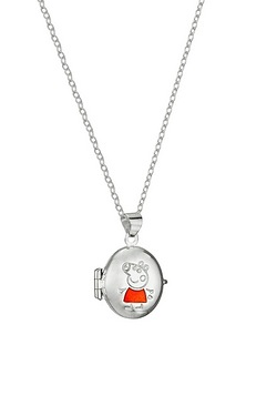 Peppa Pig Silver Enamel Oval Locket...
