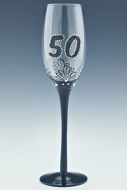 Clear French Lace 50th Champagne Flute