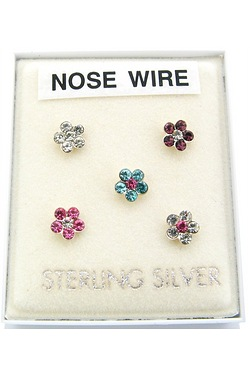 Silver Flower Nose Studs