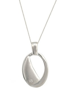 Silver & Diamond Oval Pendant
