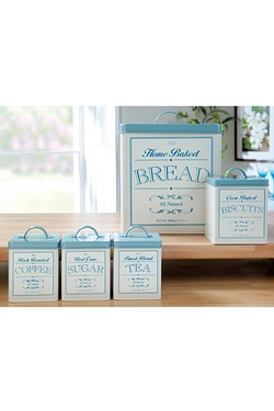 Set Of 5 Cream & Blue Canisters