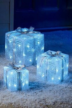 Set Of 3 White LED Parcels