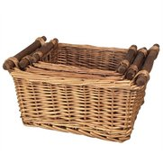 Set Of 3 Willow Storage - Wood Handles