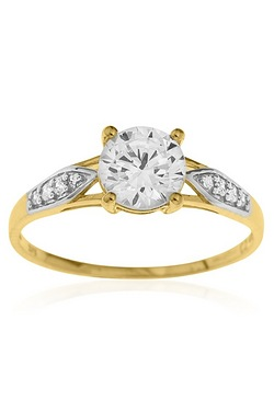 9ct Gold CZ Solitaire & Shoulder Ring