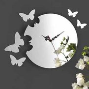 Clock Mirror Sticker - Butterfly