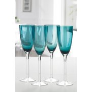 Set Of 4 Teal Champagne Flutes