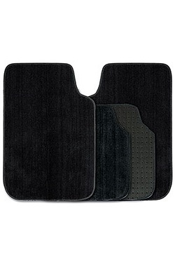4 Piece Deep Pile Luxury Car Mat Set - Black