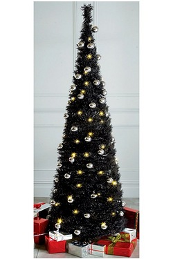 Black Lit and Decorated Pop-Up Tree