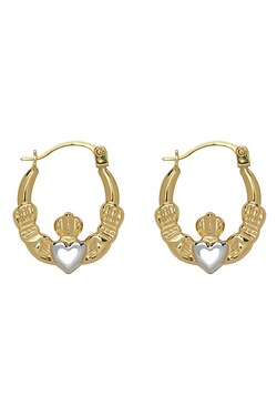 9ct 2 Tone Gold Claddagh Earrings