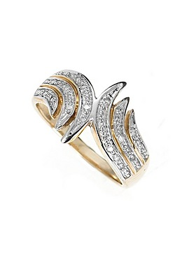 9ct Yellow Gold Diamond Curve Ring
