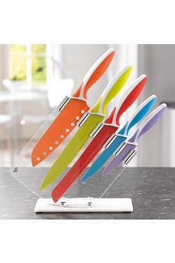 5-Piece Coloured Knives In An Acryl...