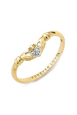 9ct Gold Forever Love Claddagh Ring...