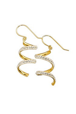 9ct Gold & Crystal Twist Earrings