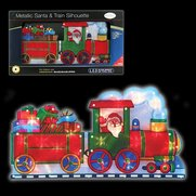 Santa & Train Metallic Silhouette