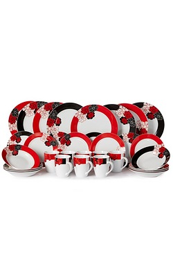 32-Piece Black & Red Flower Dinner Set