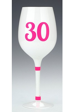 30th White Wine Glass