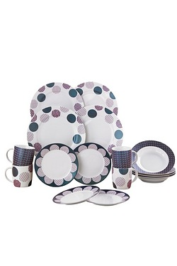 16-Piece New Bone China Circles Din...