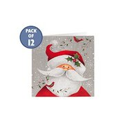 Pack Of 12 Cheery Santa Cards