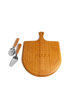 Bamboo Pizza Board With Cutter & Se...