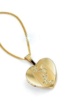 9ct Gold Butterfly Heart Locket