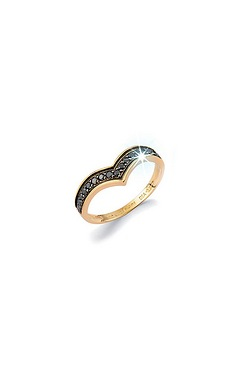 9ct Gold Black Diamond Wishbone Ring