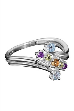 Silver Multi Stone Scatter Ring