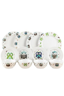 New Bone China 12-Piece Owl Dinner Set