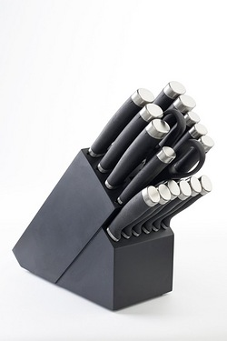 16-Piece Black Knife Block With FRE...